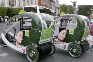 Такси-велосипед в Дублине живет за счет рекламы